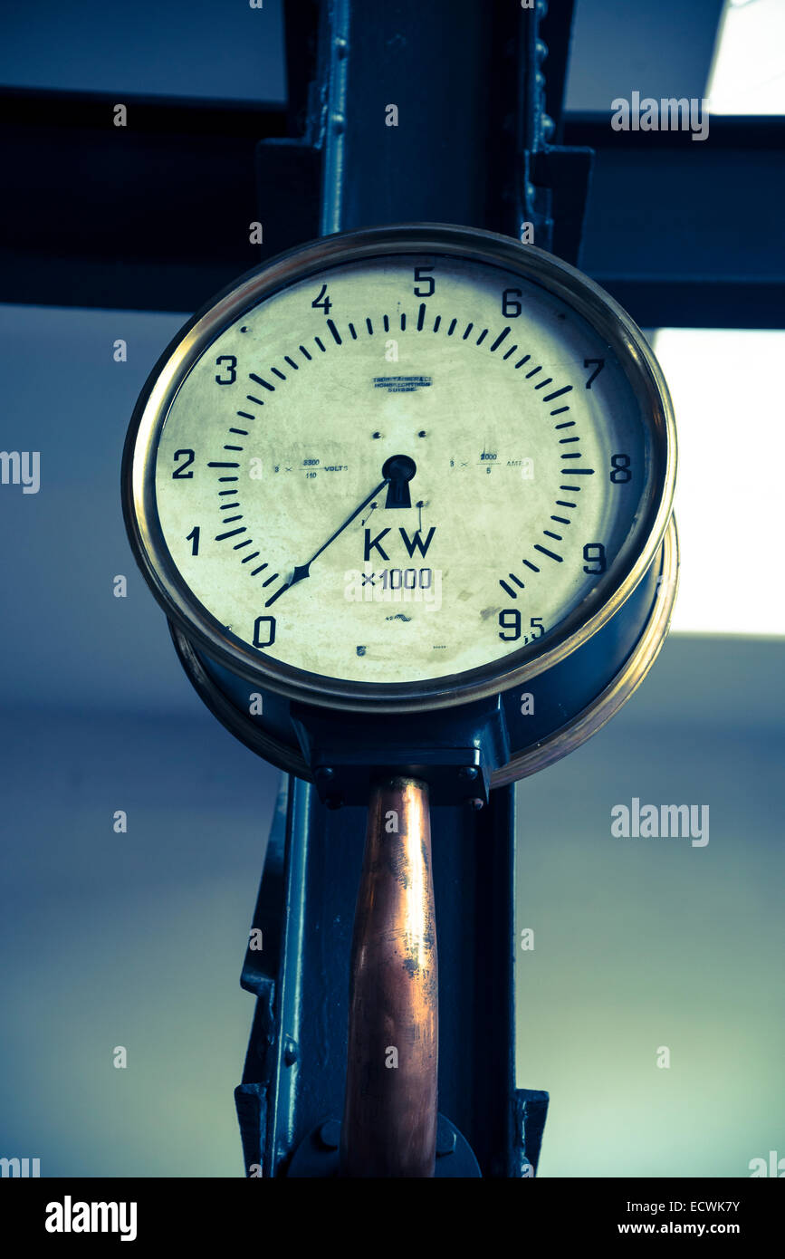Electricity Museum, Electricity meter, Lisbon, Portugal - Stock Image