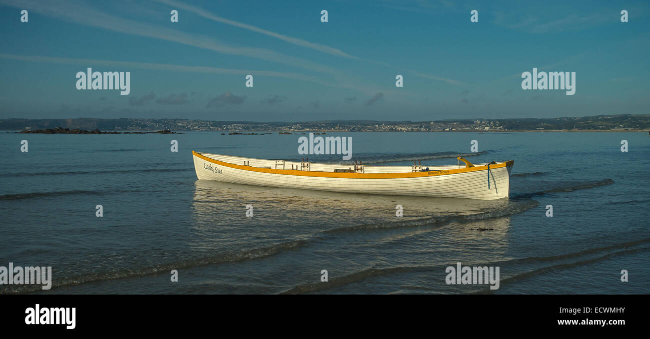 Cornish Gig boat at Marazion - Stock Image