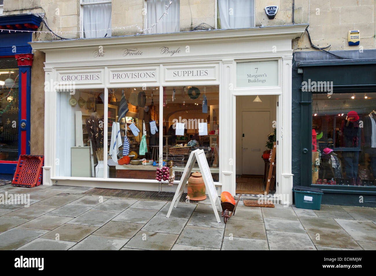 The Foodie Bugle Shop, Margarets Buildings, Bath - Stock Image
