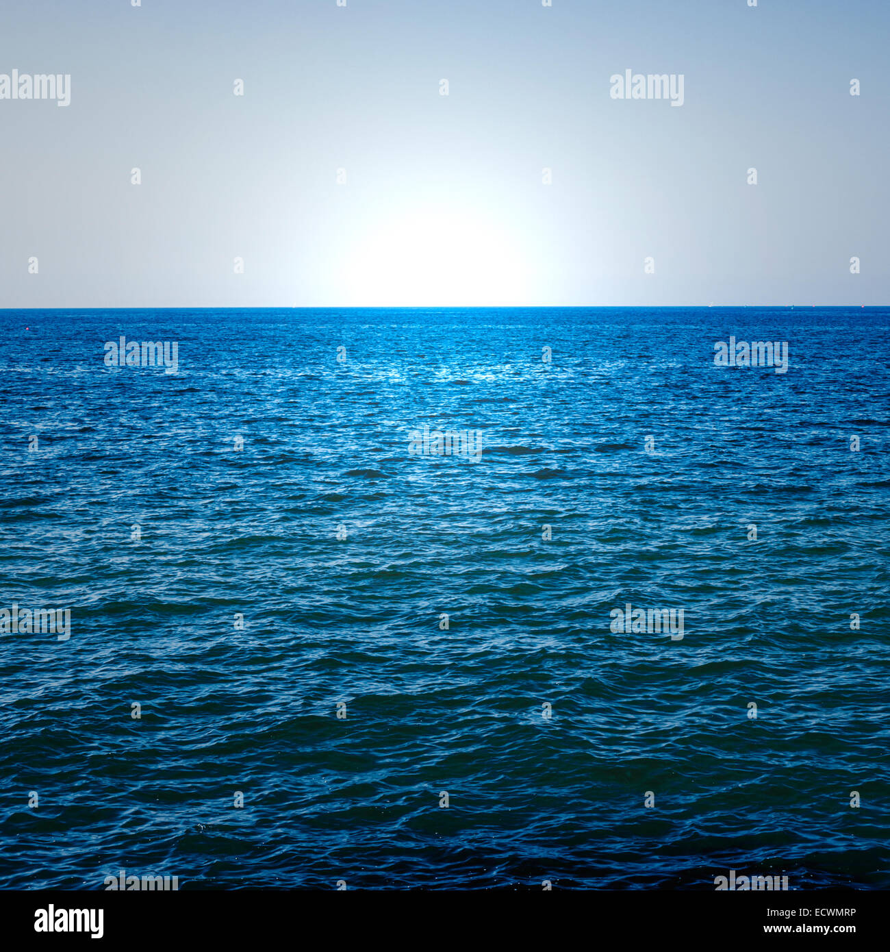 the blue ocean on a summer day - Stock Image