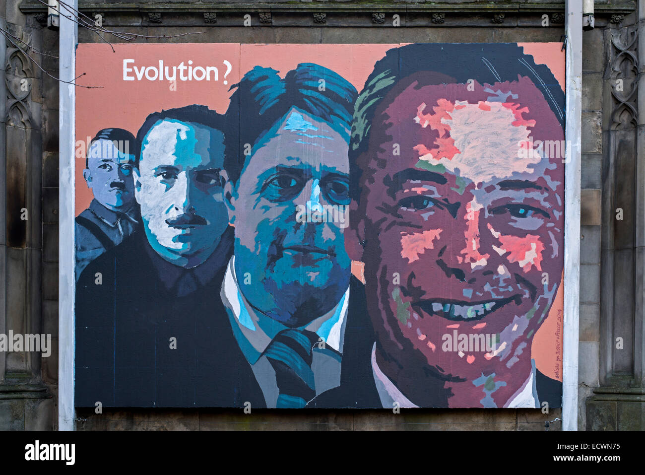 Controversial mural outside St John's Episcopal Church on Princes Street Edinburgh depicting right wing political - Stock Image