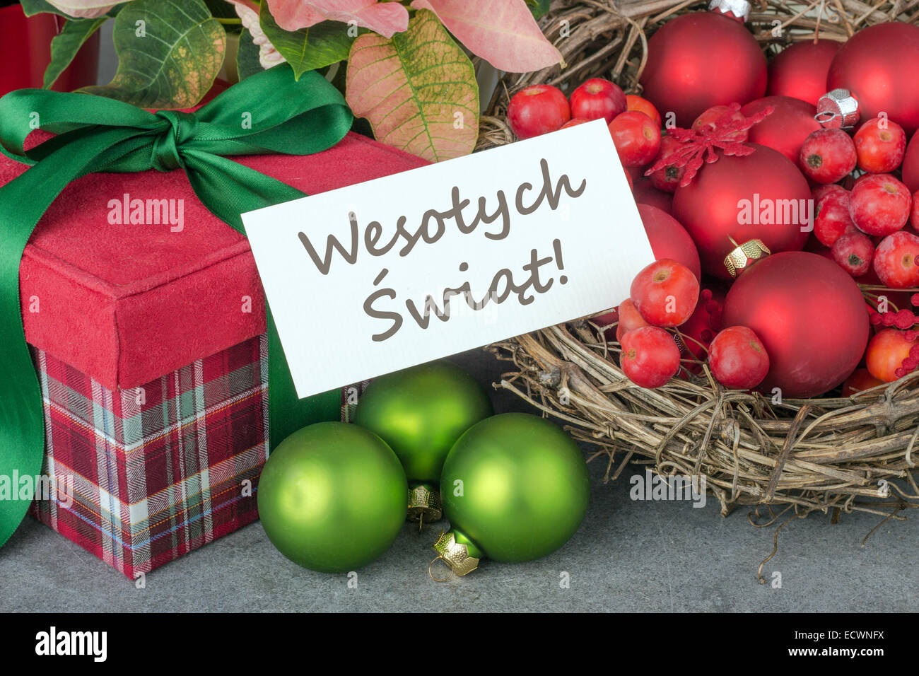 Merry Christmas In Polish.Polish Christmas Card With Gift And Christmas Tree Balls And