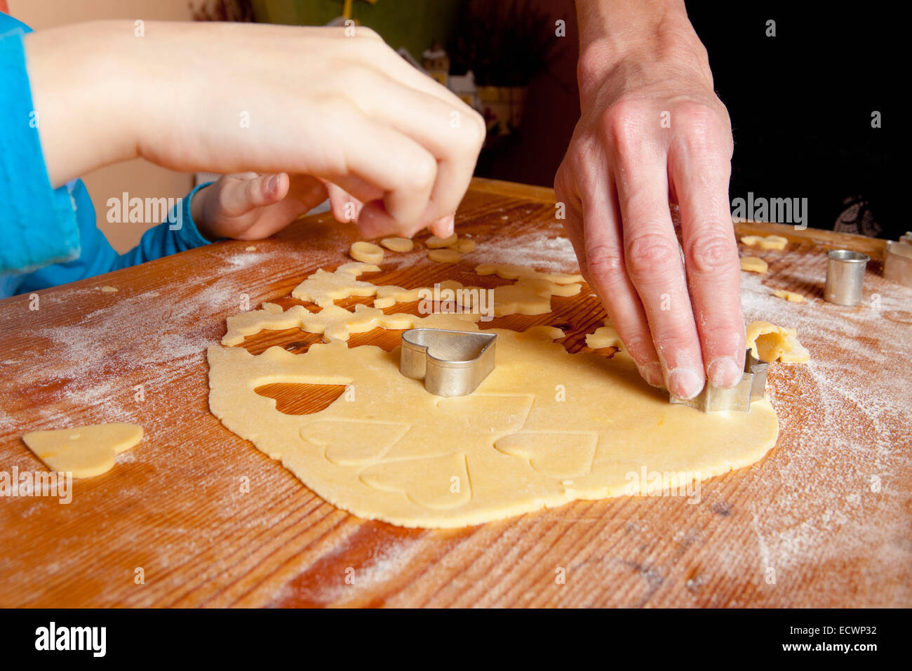 Traditional Czech Christmas Baking - Shaping Dough with Forms - Stock Image