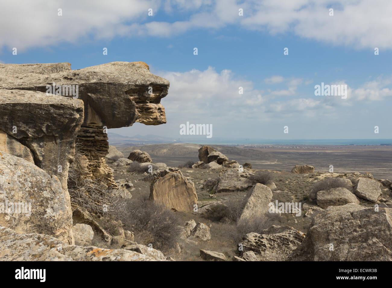 Gobustan National Park in Azerbaijan Stock Photo