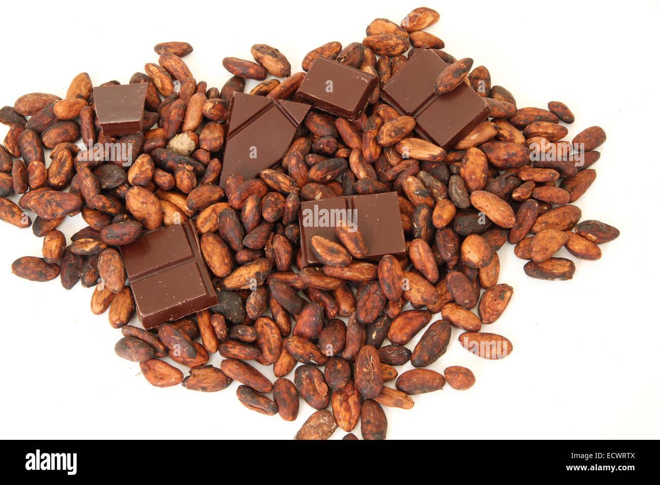fine origin dark chocolate bar with cocoa beans - Stock Image