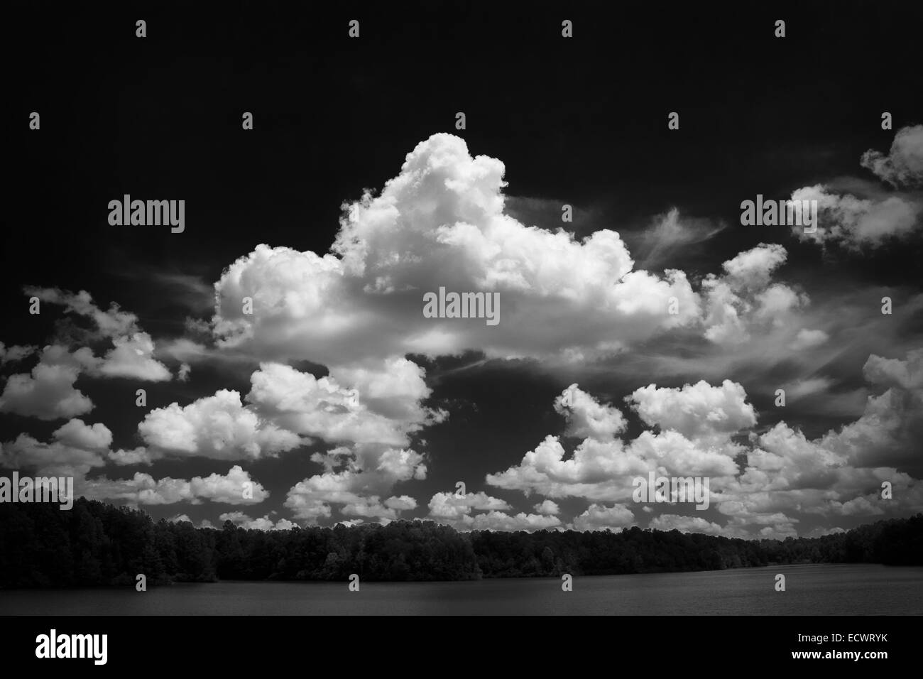 Cloudy Sky over Lake Michaels in Black and White Stock Photo
