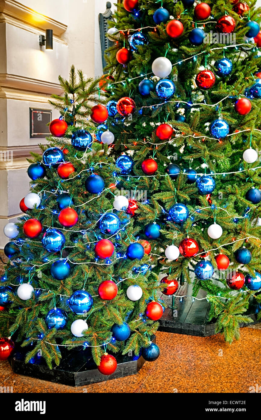 Red Blue And White Decorating Balls On The Christmas Tree At The Stock Photo Alamy