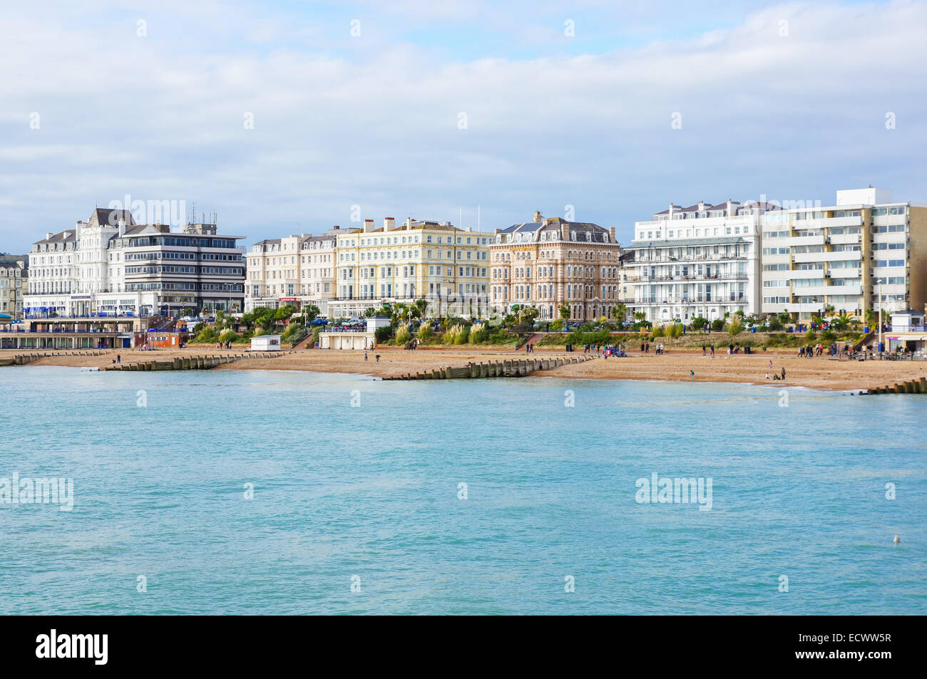 Eastbourne beach and seafront as seen from the pier, Eastbourne East Sussex England United Kingdom UK Stock Photo