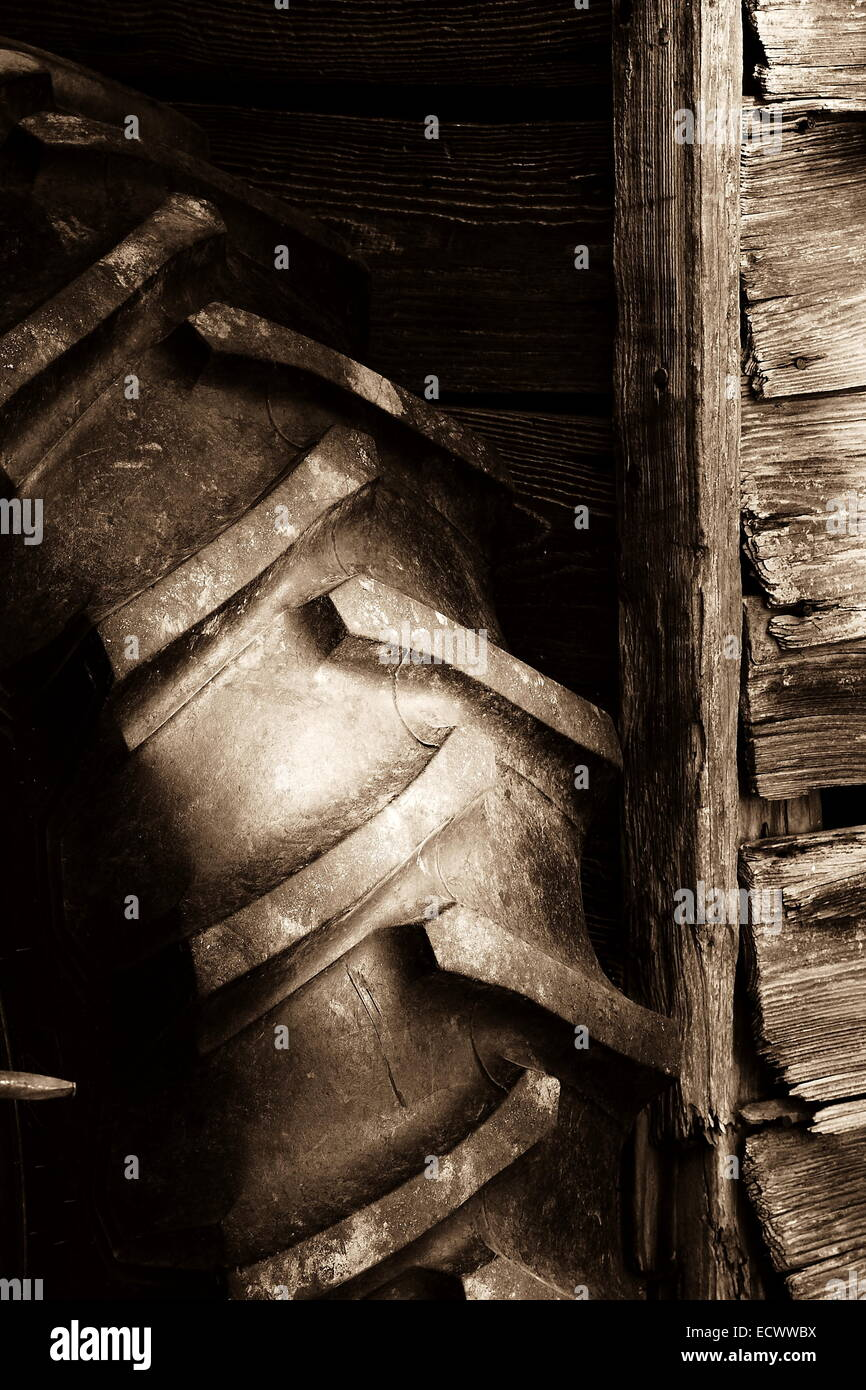 Tractor Tire on Rustic Barn Wall in monochrome with sepia tone - Stock Image