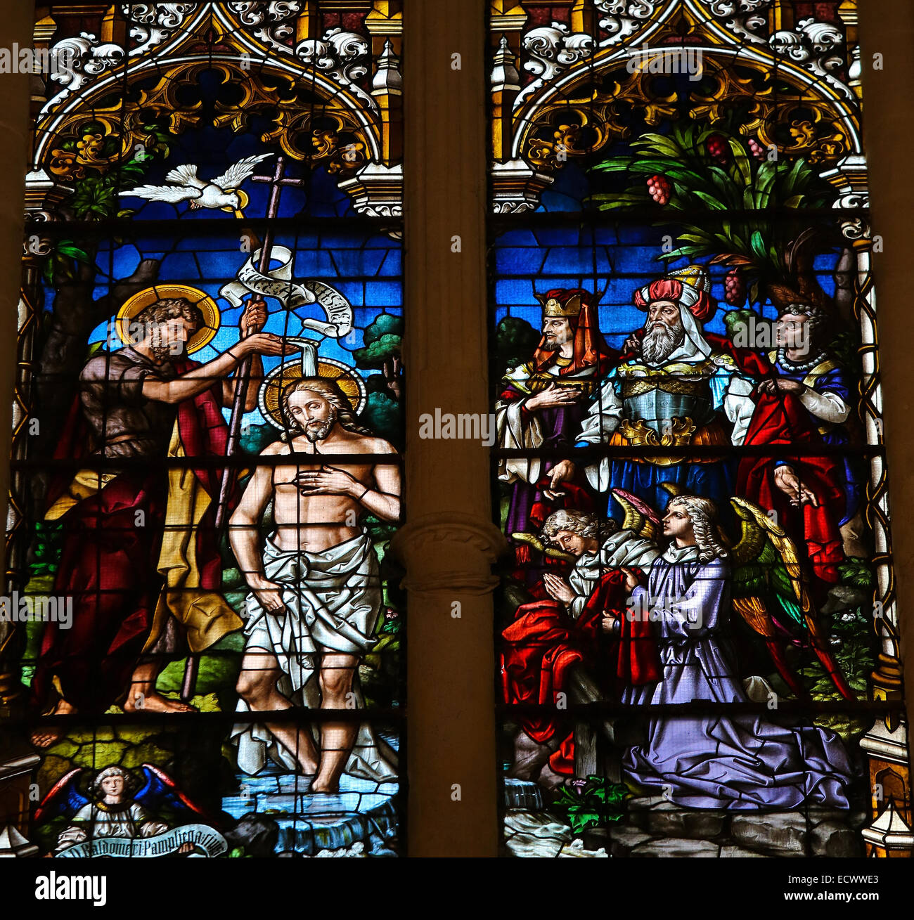 Stained glass window depicting the Baptism of Jesus by Saint John in the cathedral of Burgos - Stock Image