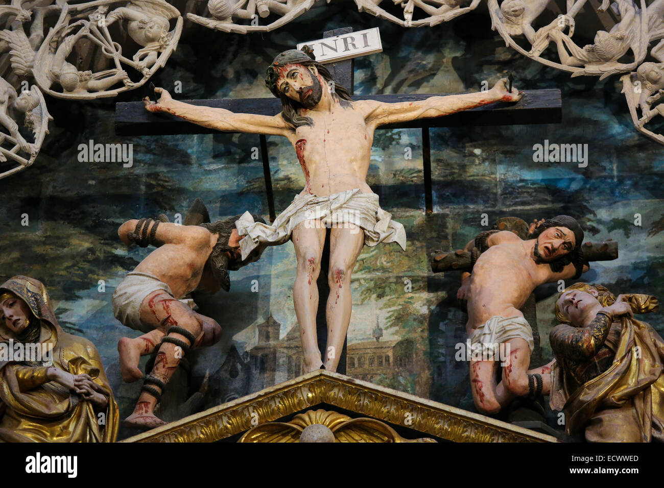 Crucifixion Scene in Burgos Cathedral, Castille, Spain. - Stock Image