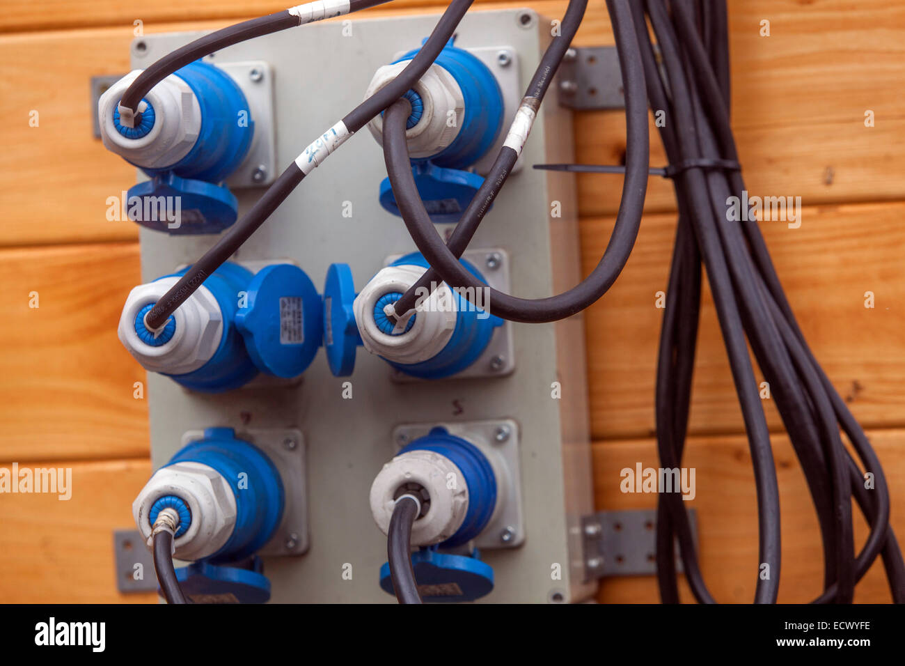 electrical outlets connected to the electricity - Stock Image