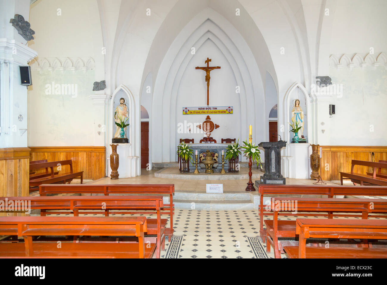 The interior of the Catholic church in Sapa, Vietnam, Asia. - Stock Image