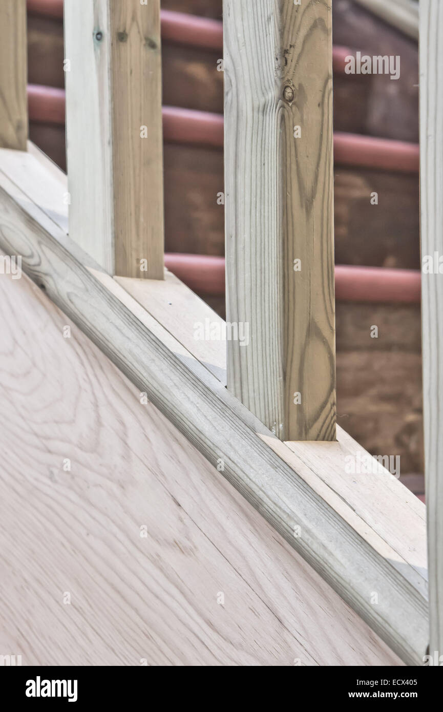 Close Up Of Part Of A Wooden Stair Bannister