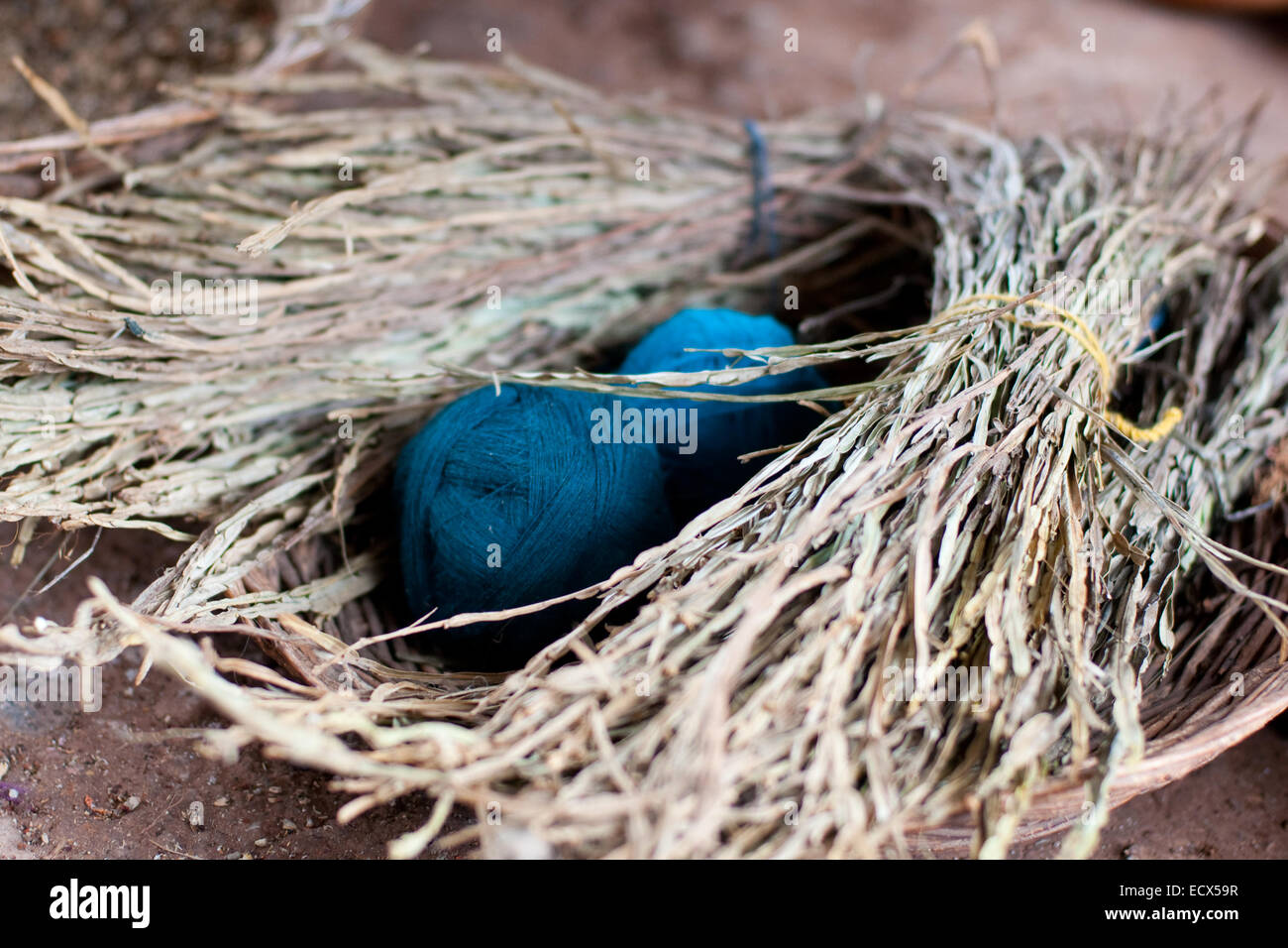 the picture of the blue wool clews, filled whole frame - Stock Image