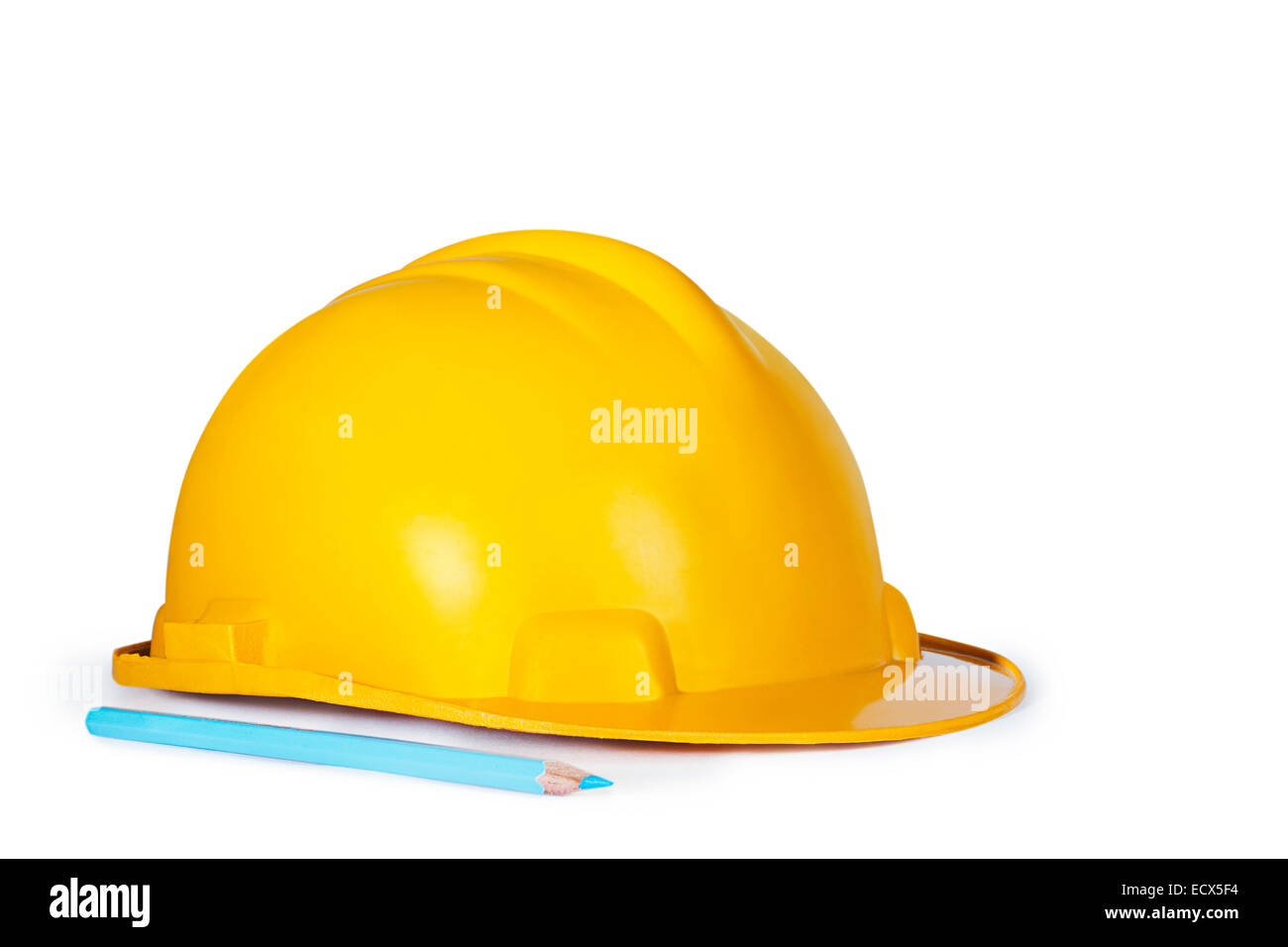 Drawing Pencil and Protective Helmet Nobody - Stock Image
