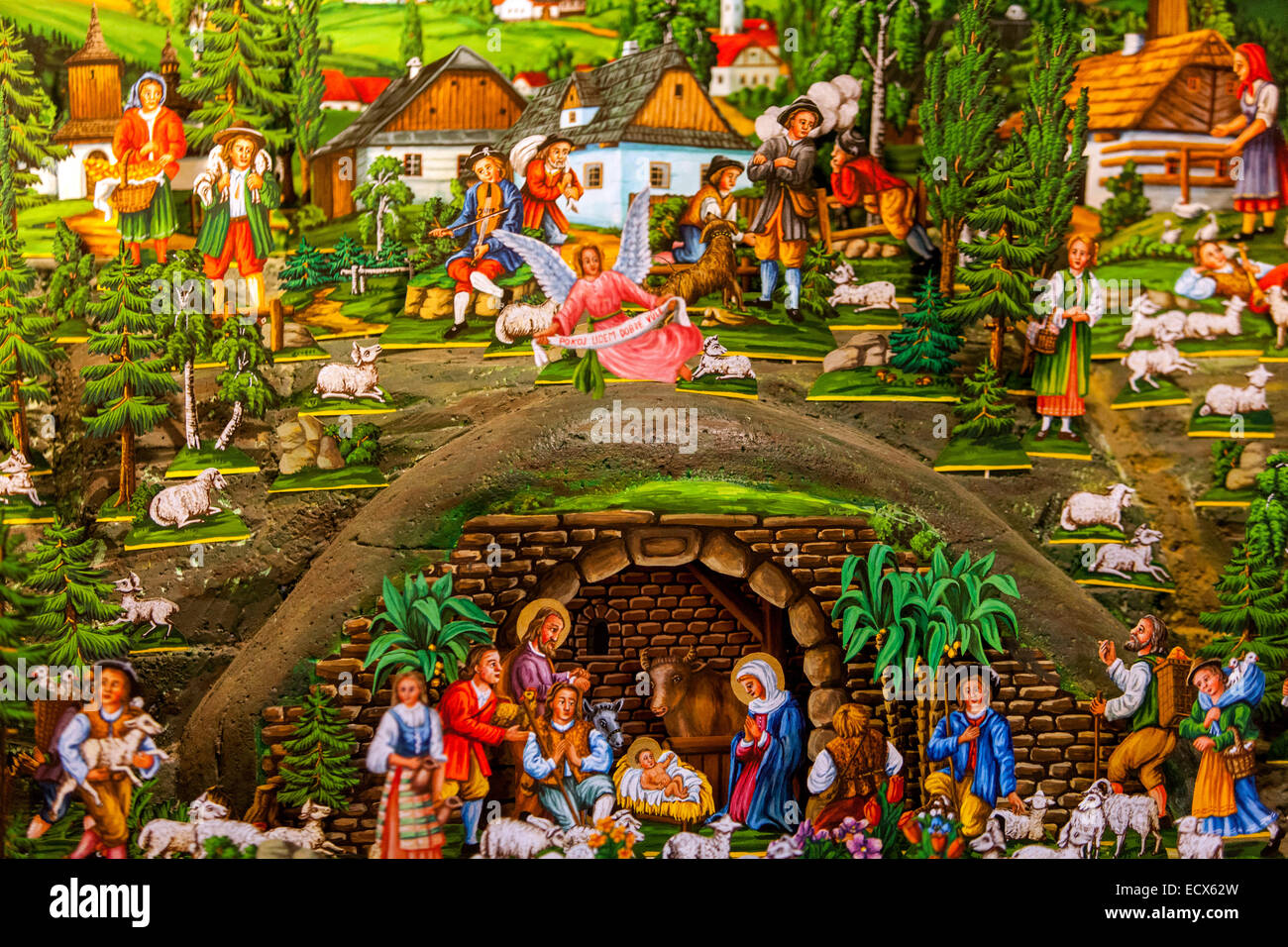 Traditional Czech Christmas Nativity scene. Scenes from the birth of Jesus. Stock Photo