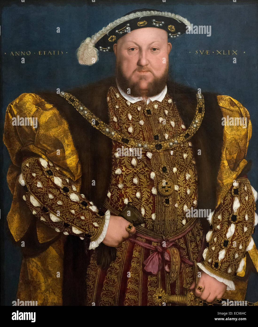 Rome. Italy. Portrait of King Henry VIII by Hans Holbein the Younger (1540), oil on panel. Galleria Nazionale d'Arte - Stock Image