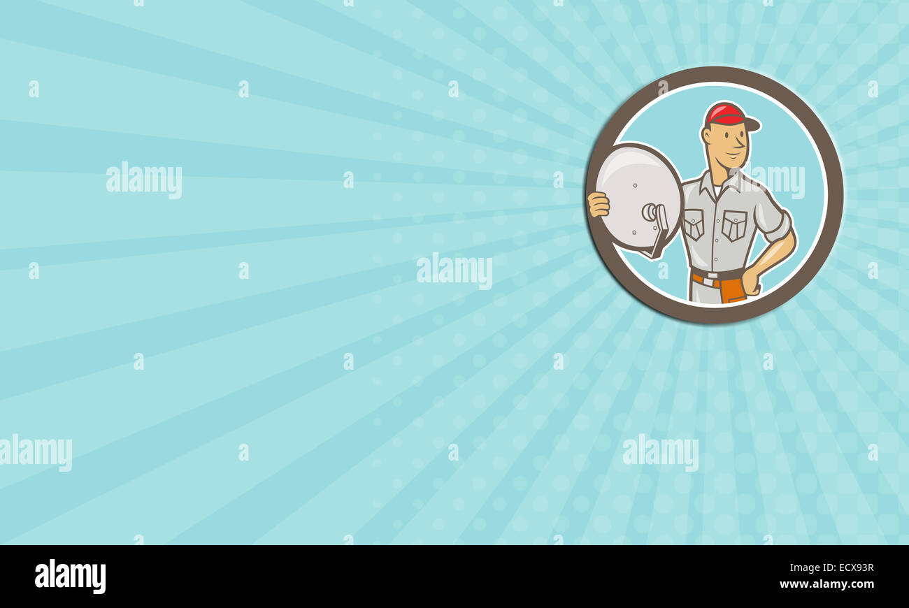 Business card showing illustration of a cable tv installer guy stock business card showing illustration of a cable tv installer guy holding satellite dish viewed from front set inside circle done in cartoon style on isolated colourmoves