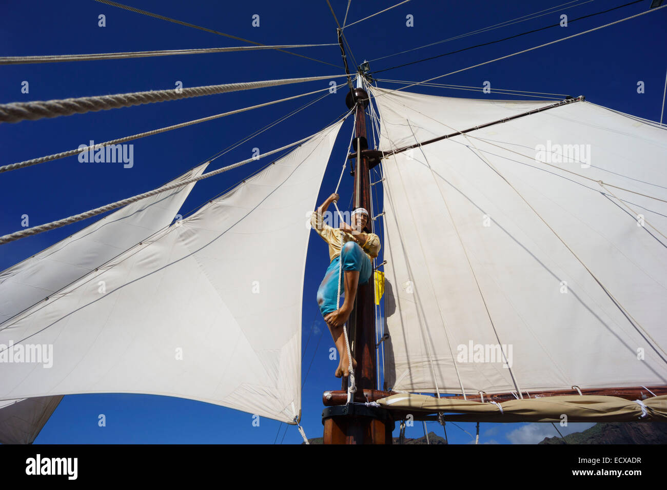 Tenerife - Flipper Uno 'pirate ship' tourist excursion, dolphin watching, to Masca bay from Los Gigantes. - Stock Image