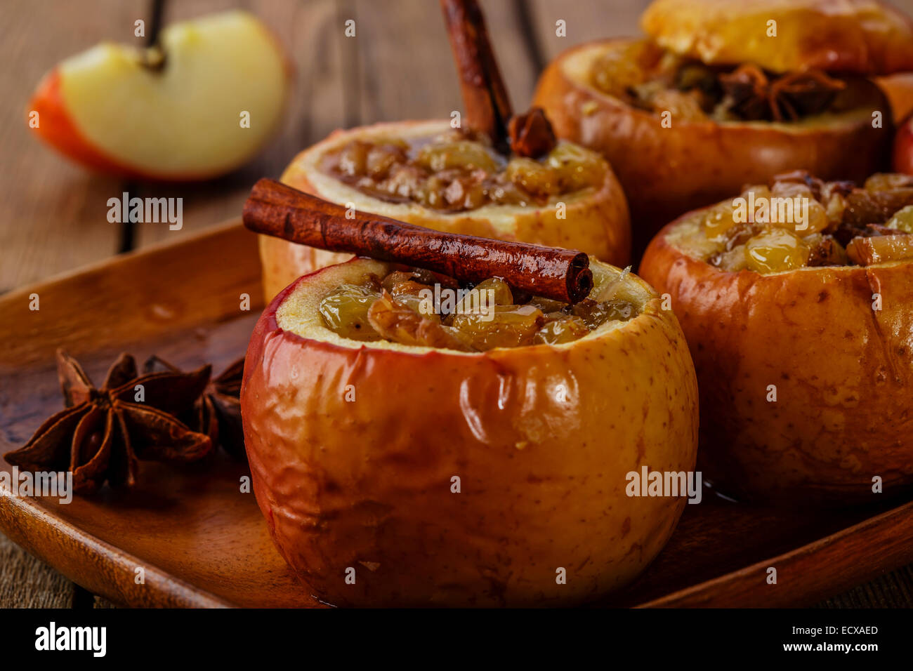 baked apples with raisins and cinnamon - Stock Image