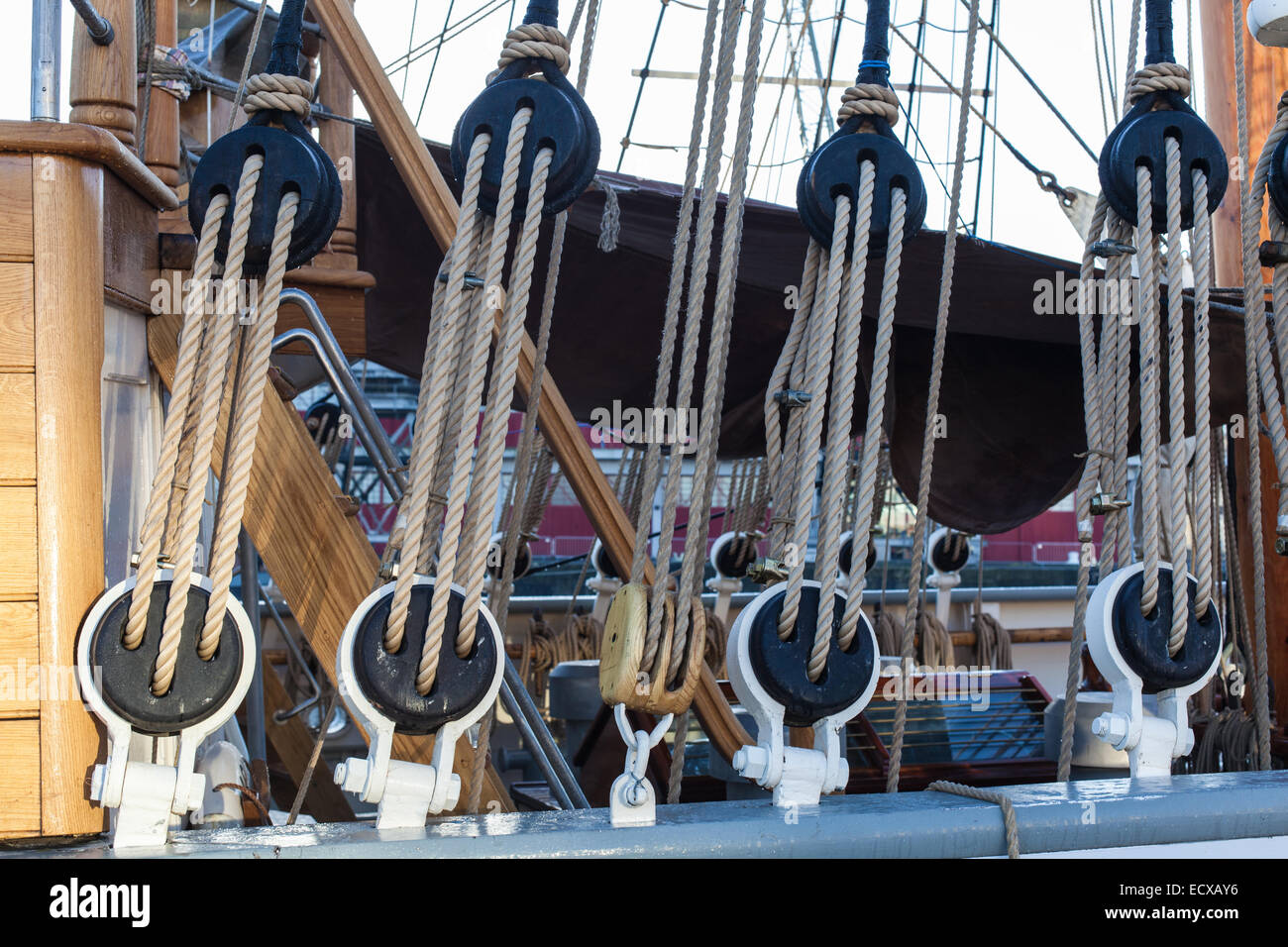 The Kaskelot tall ship in Bristol Harbour, detail of rigging - Stock Image