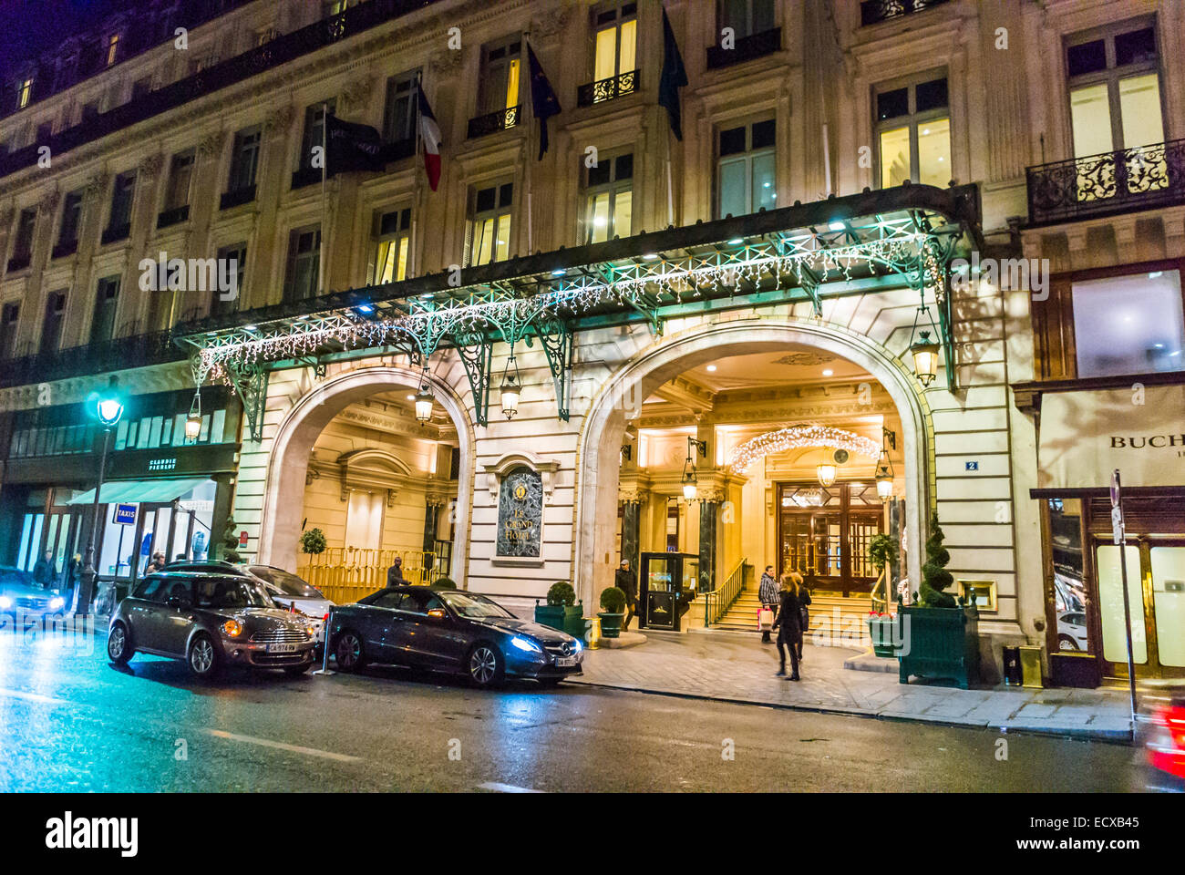Paris France Luxury Hotel Front Outside Street Scenes At Night