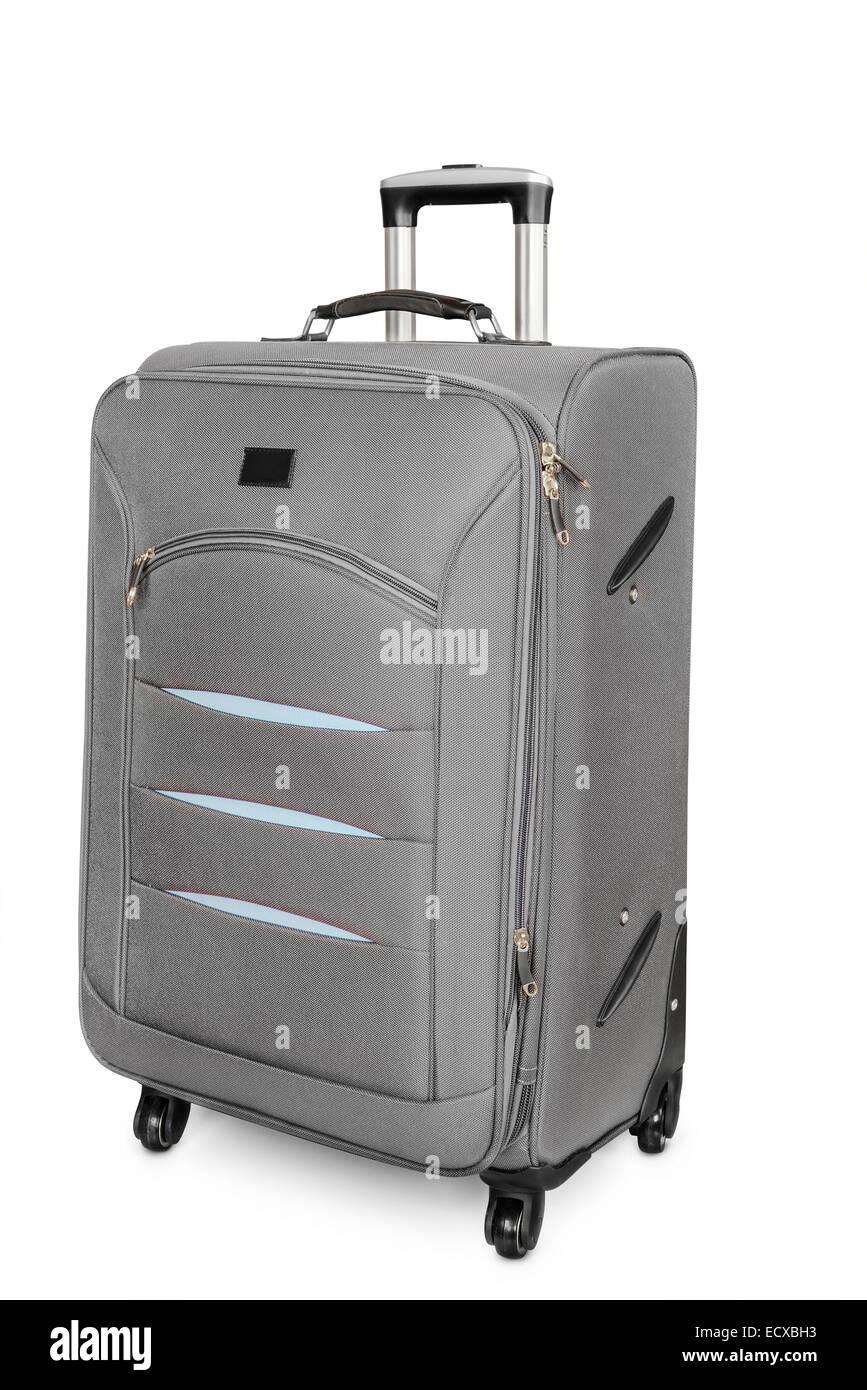 Travel suitcase isolated on white - Stock Image