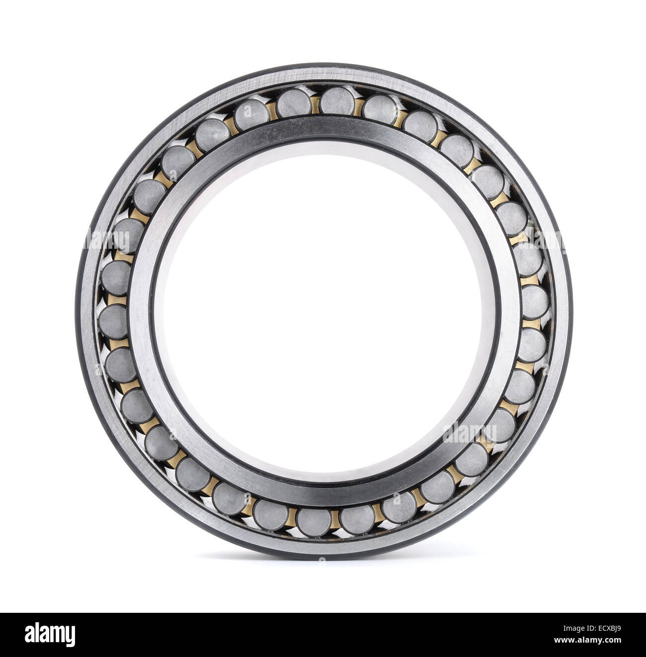 Cylindrical roller bearing isolated on white - Stock Image