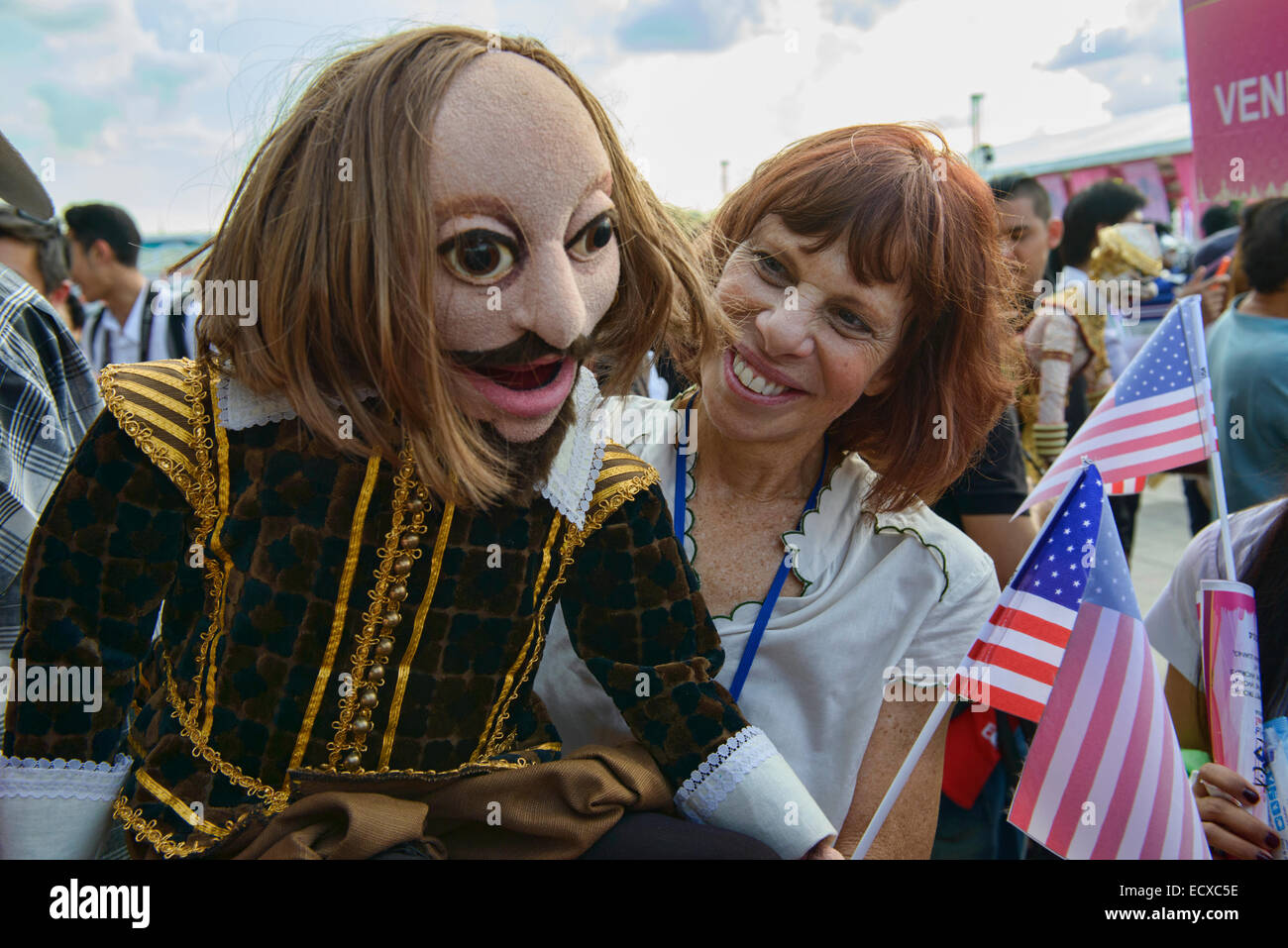 American puppet and puppeteer at the World Puppet Festival, Bangkok, Thailand - Stock Image