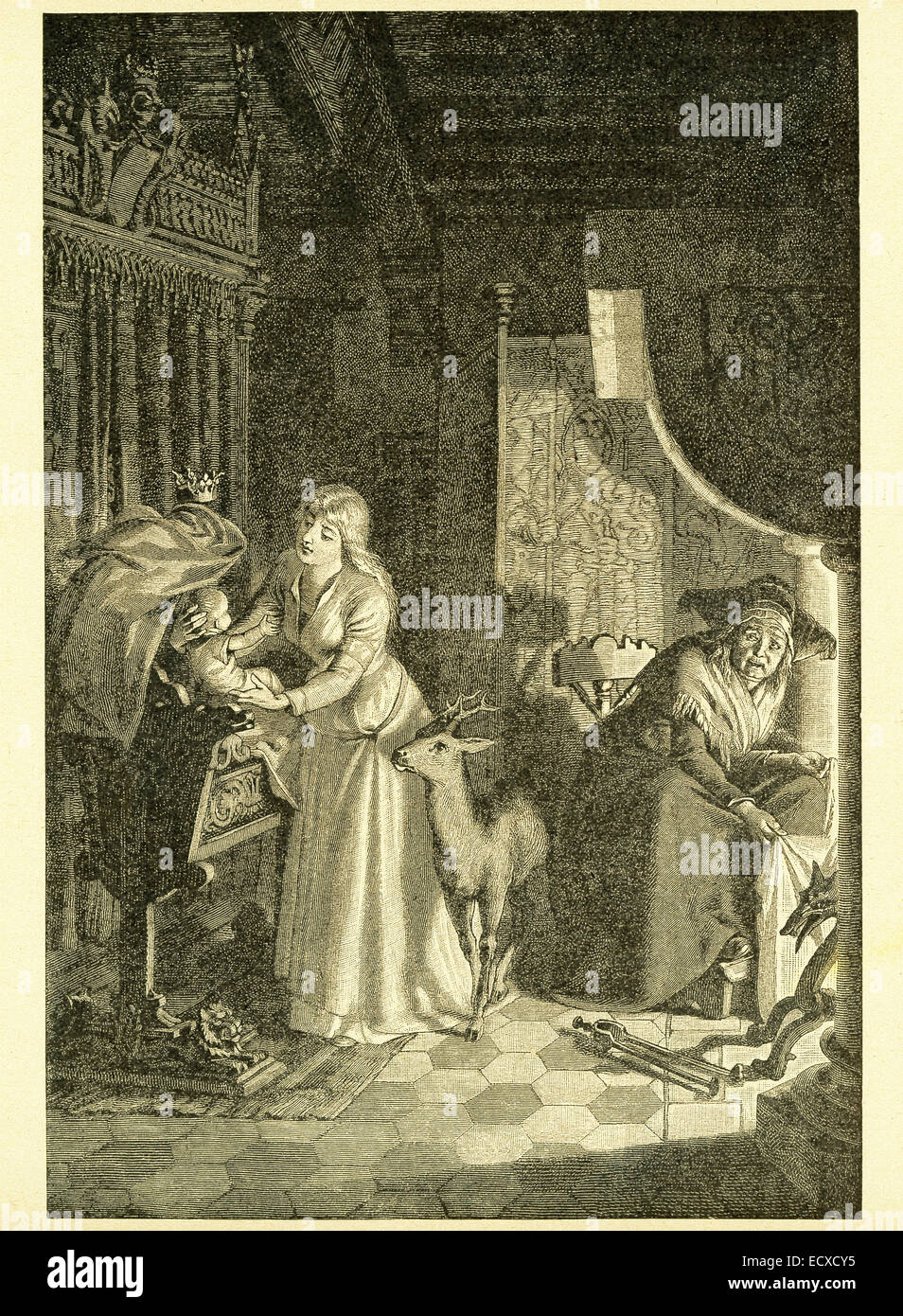 In 1812, the Grimm brothers, Jacob and Wilhelm, published Children and Household Tales, a collection German fairy - Stock Image