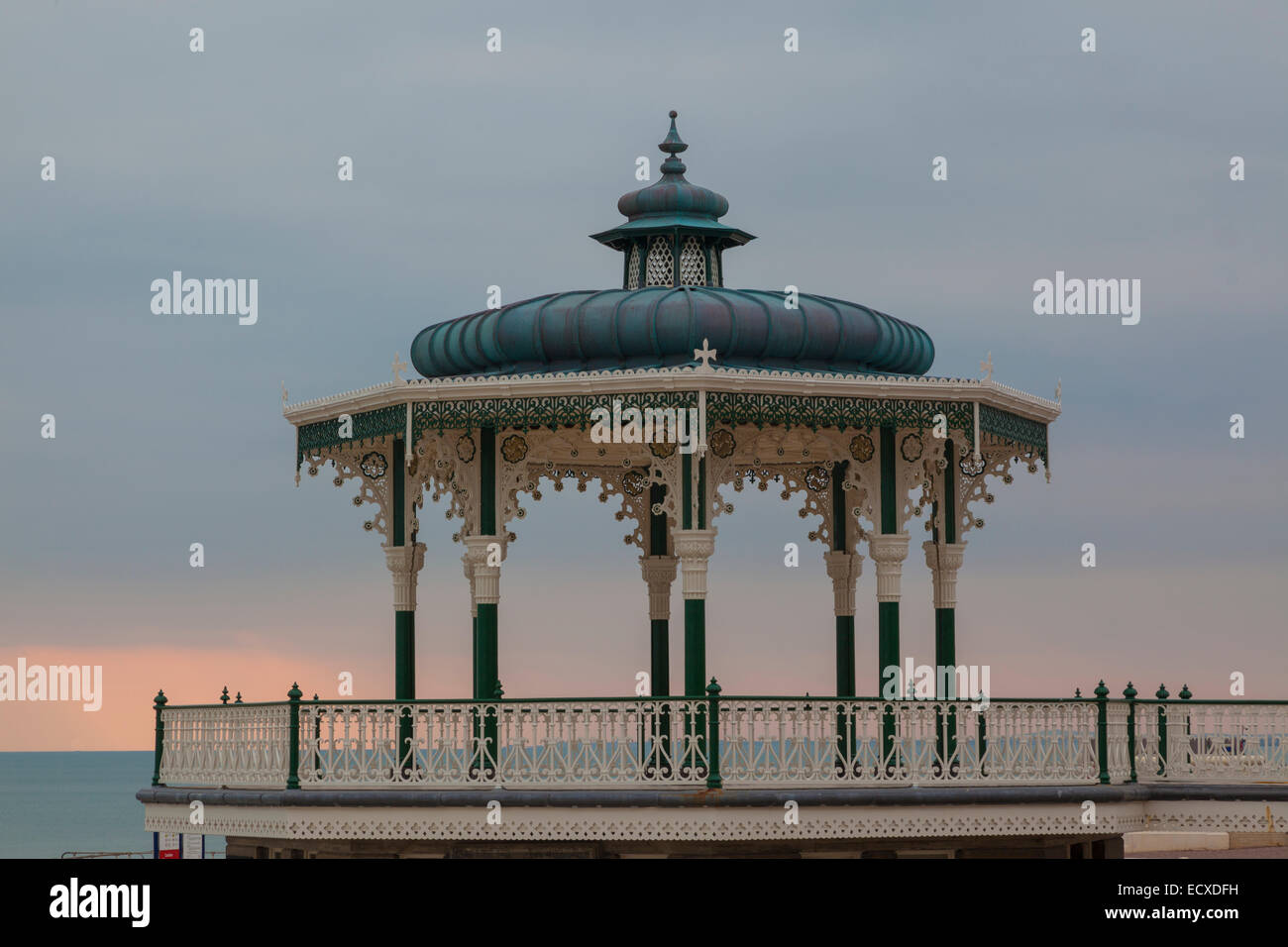 Edwardian bandstand, Eastbourne, Sussex, on a winter afternoon. - Stock Image