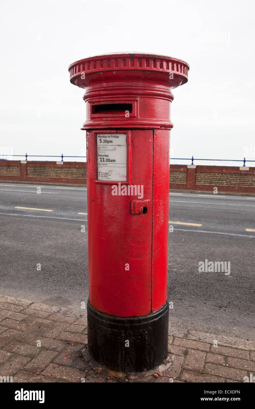 Pillar Box with no royal cipher, intended for Scotland but installed in Eastbourne, Sussex, by mistake. - Stock Image