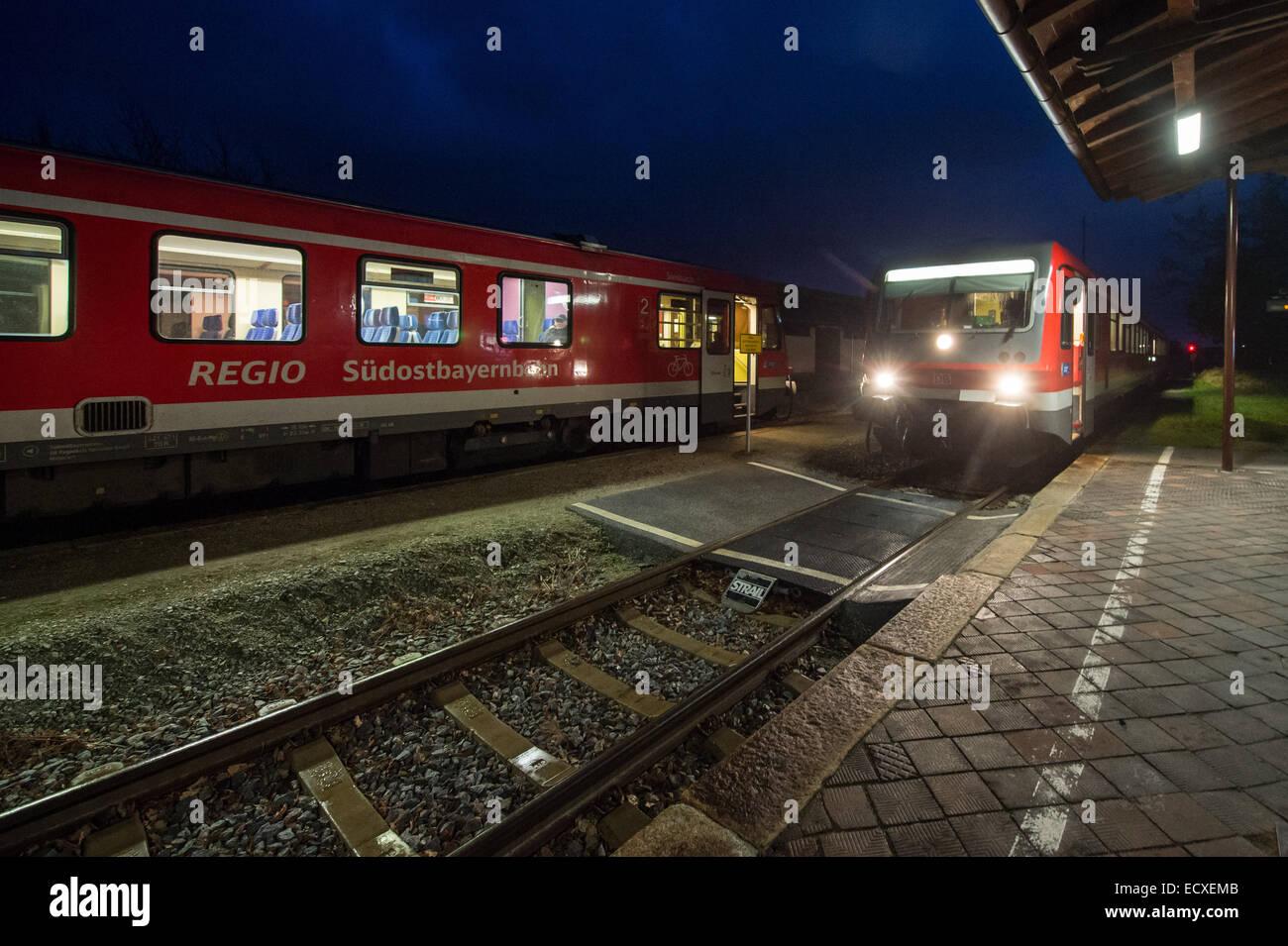 Niederlindhart, Germany. 21st Dec, 2014. Trains stand in the station of Niederlindhart, Germany, 21 December 2014. - Stock Image