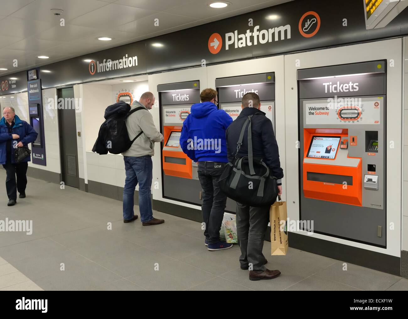 St Enoch Square underground ticket machines serving customers for the Glasgow tube in Scotland - Stock Image