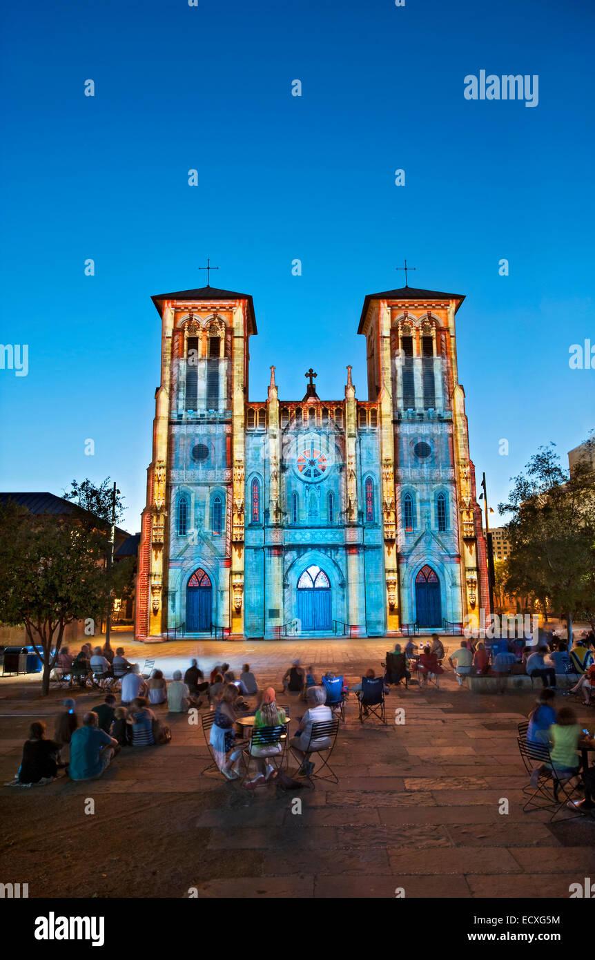Saga light show in San Antonio, TX - Stock Image
