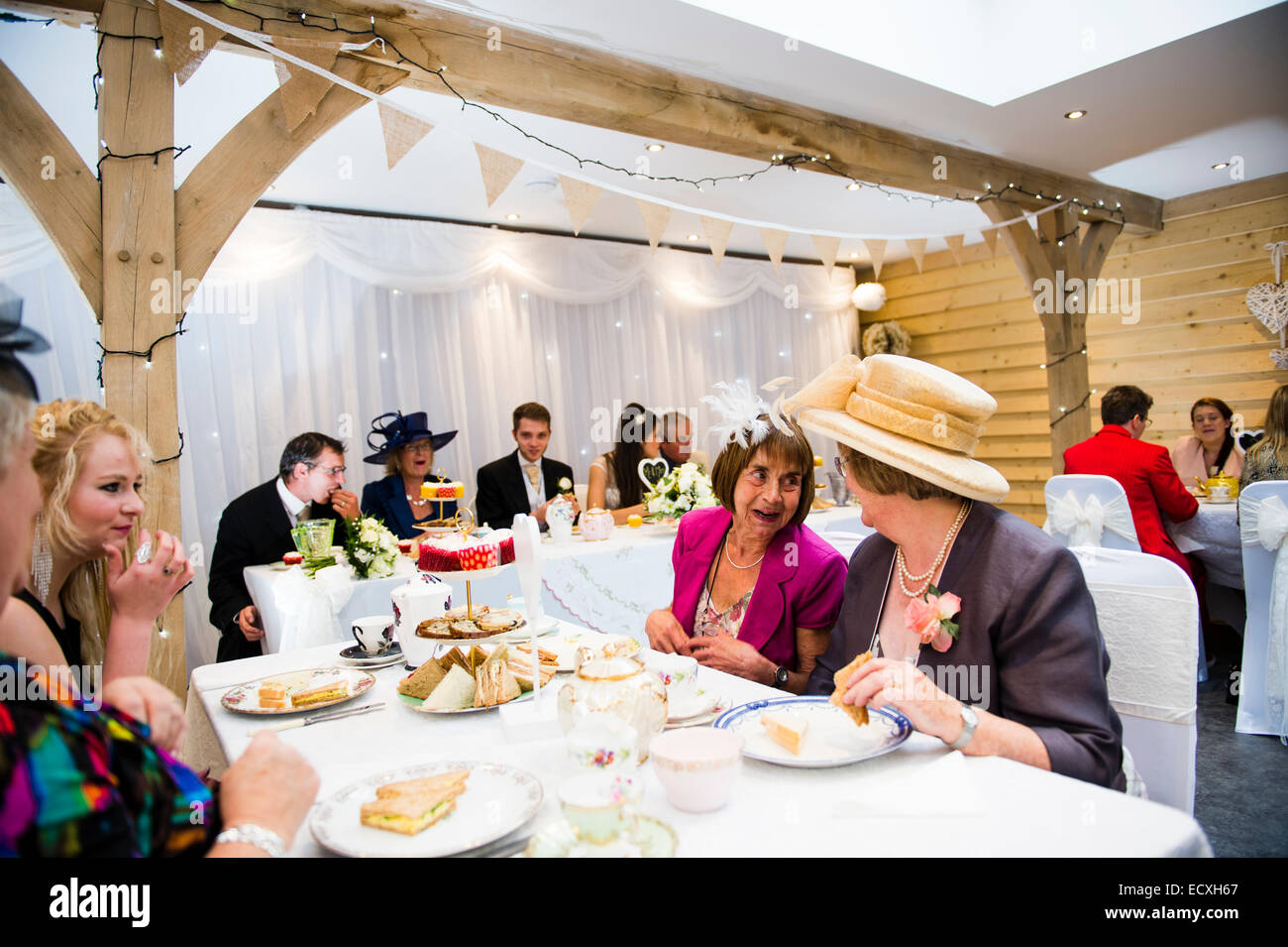 Getting Married Wedding Day Uk People Enjoying Themselves Eating