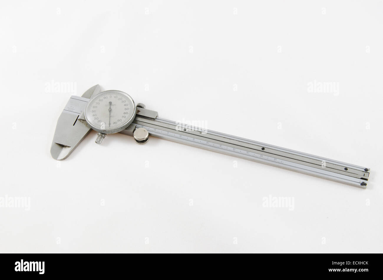 Vernier caliper precision tool isolated on white - Stock Image