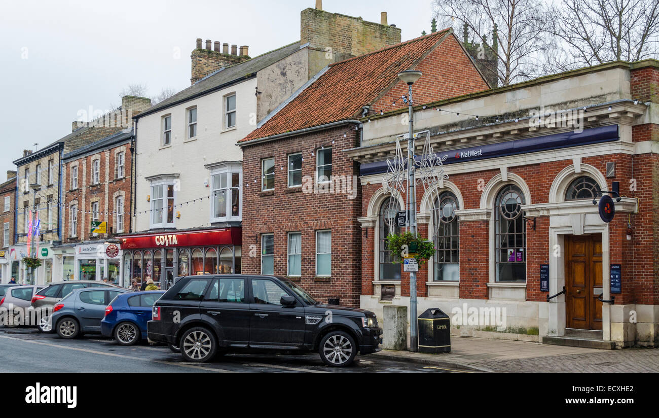 Nat West and Costa Coffee in Pocklington Market Place - Stock Image