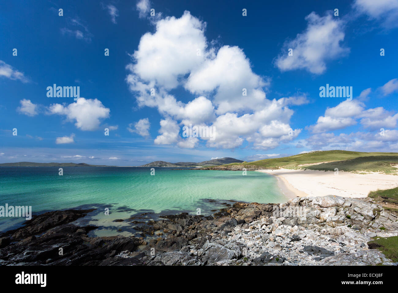 Turquoise waters of Luskentyre beach on the Isle of Harris, Outer Hebrides, Scotland - Stock Image