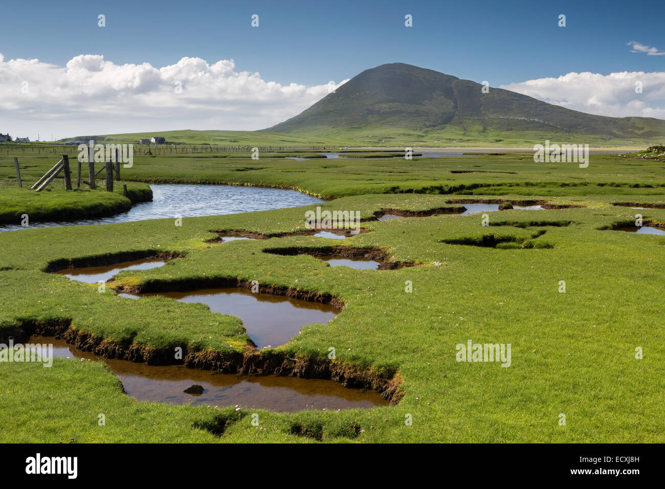 Ceapabhal hill and tital inlets or saltings at An Taobh Tuath or Northton on the Isle of Harris, Scotland. Stock Photo