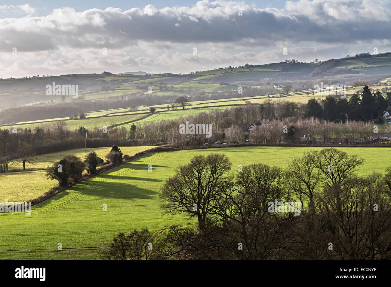 Landscape over fields at Raglan, Wales, UK - Stock Image