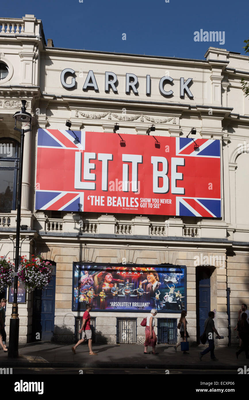 Beatles show 'Let it Be' advertised on the façade of the Garrick Theatre in Charing Cross Road, London - Stock Image