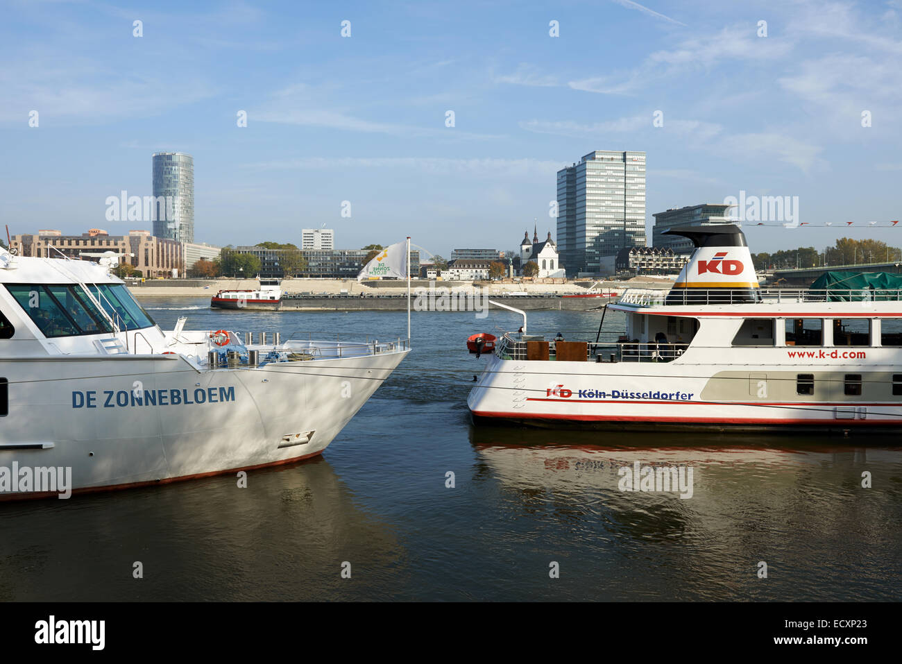 River Rhine passenger cruisers, Cologne, Germany. - Stock Image