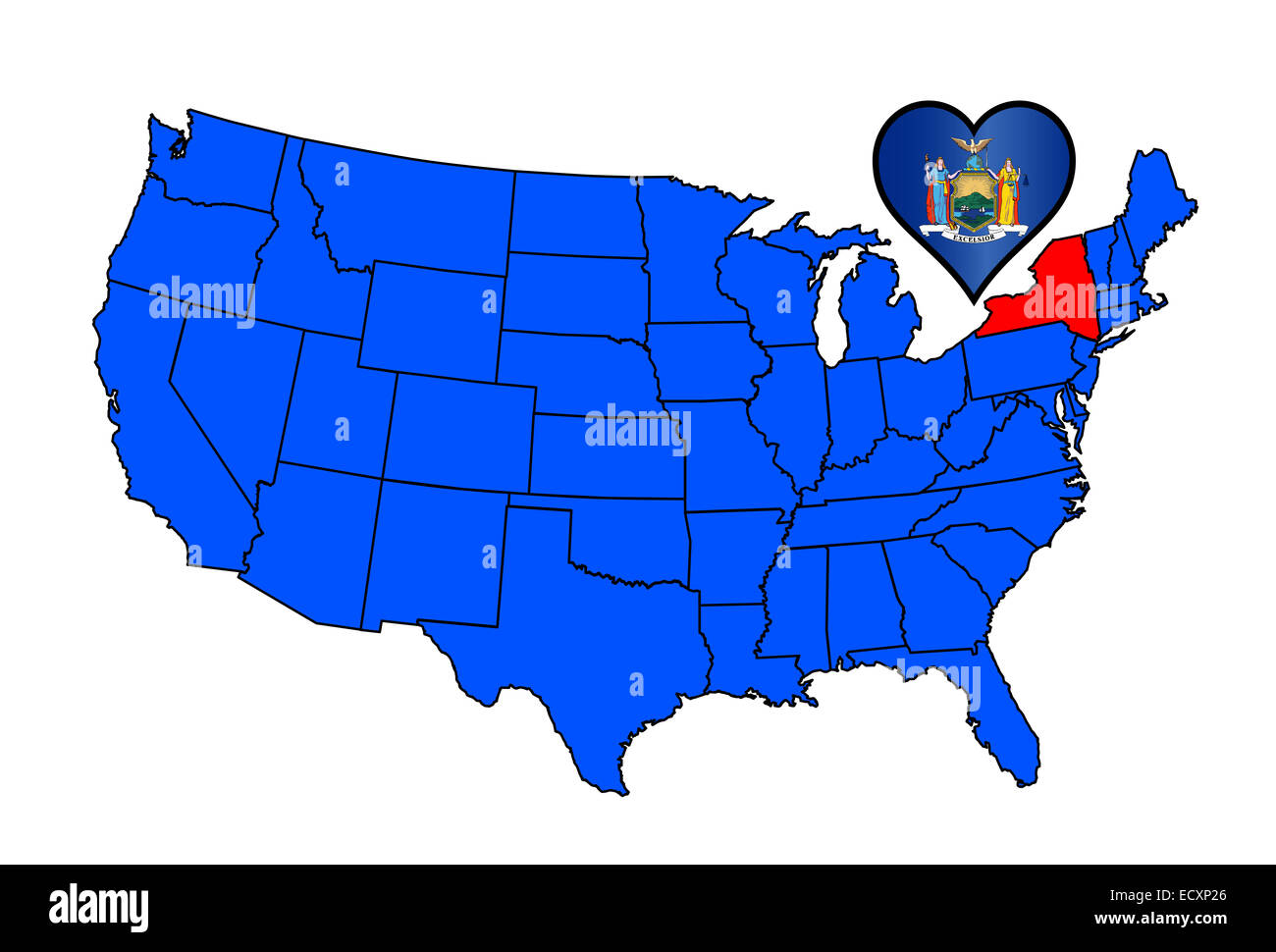Map od the United States of America with the state of New York Stock