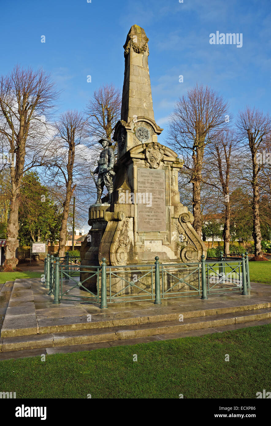 The South Africa Memorial, Dane John Gardens, Canterbury remembers Kent soldiers who died in the South African war - Stock Image