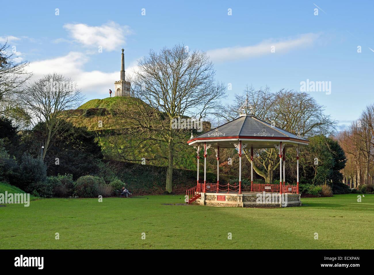 Dane John Mound and the Victorian bandstand in Dane John Gardens, Canterbury, Kent, UK - Stock Image