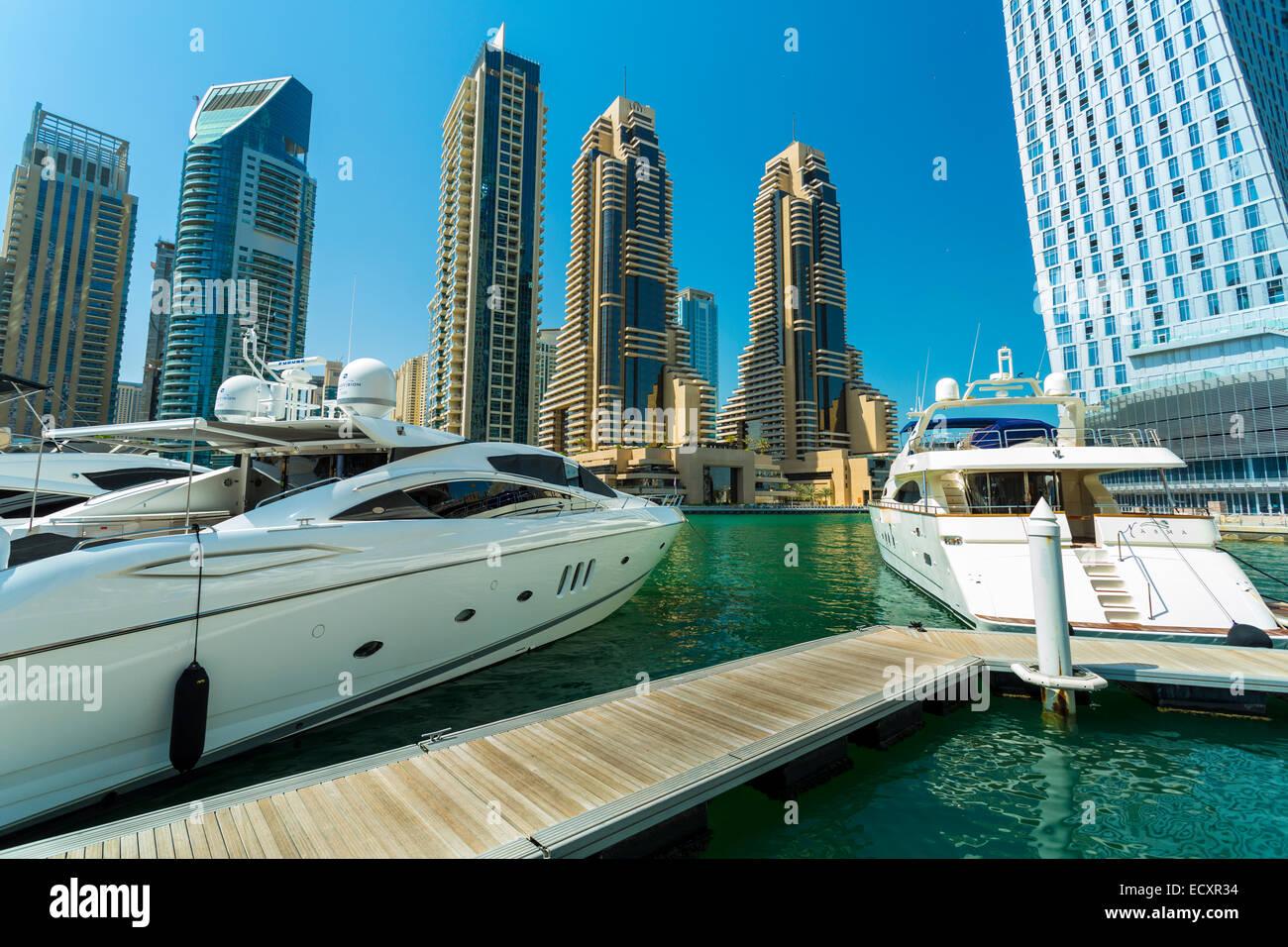 The Dubai Marina and skyline, Dubai, UAE - Stock Image