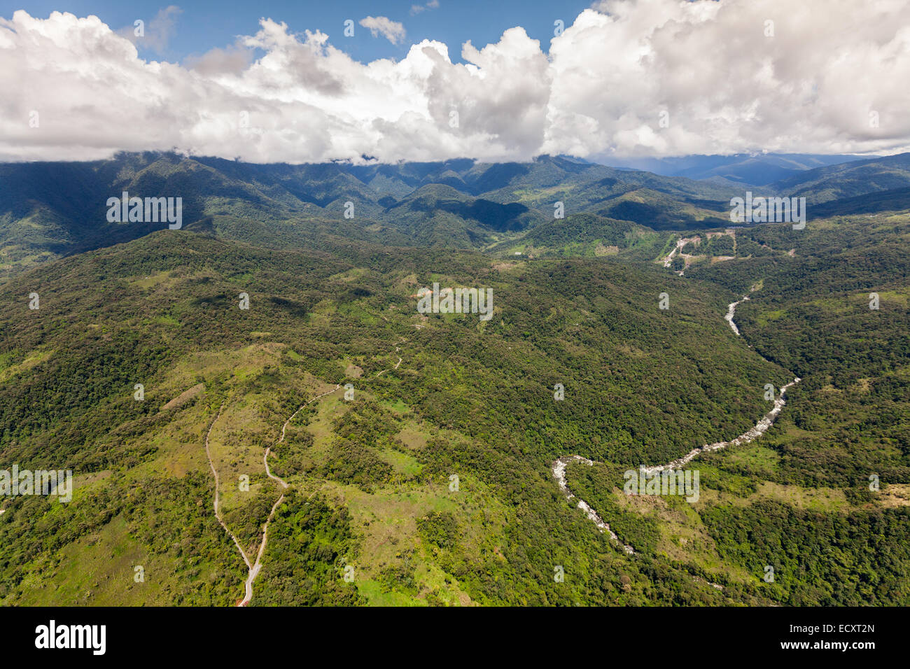 Llanganates National Park And Topo River Tungurahua Province Ecuador High Altitude Full Size Helicopter Shot - Stock Image