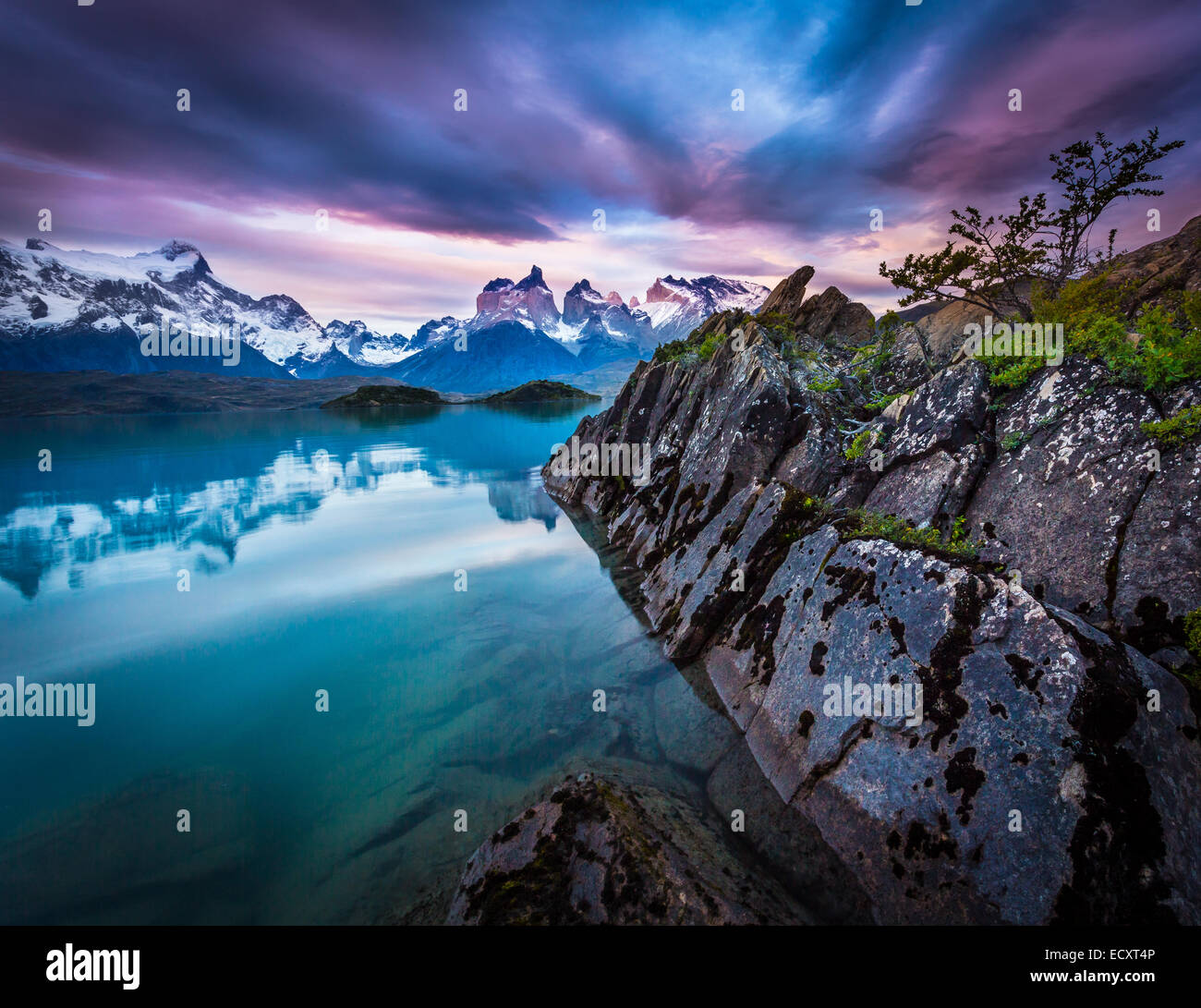Torres del Paine National Park encompasses mountains, glaciers, lakes, and rivers in southern Chilean Patagonia. Stock Photo